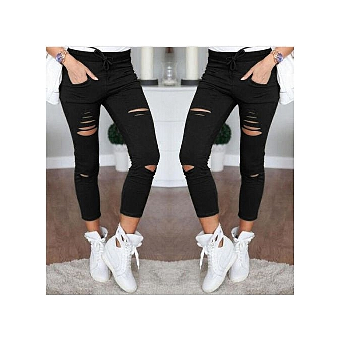 b5a7c72712 All-match Fashion Womens Stretch Ripped Jeans Ladies Slim Fit Skinny Jeans  Trousers Casual Hole