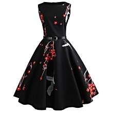 Women Vintage Printing Bodycon Sleeveless Casual Evening Party Prom Swing Dress