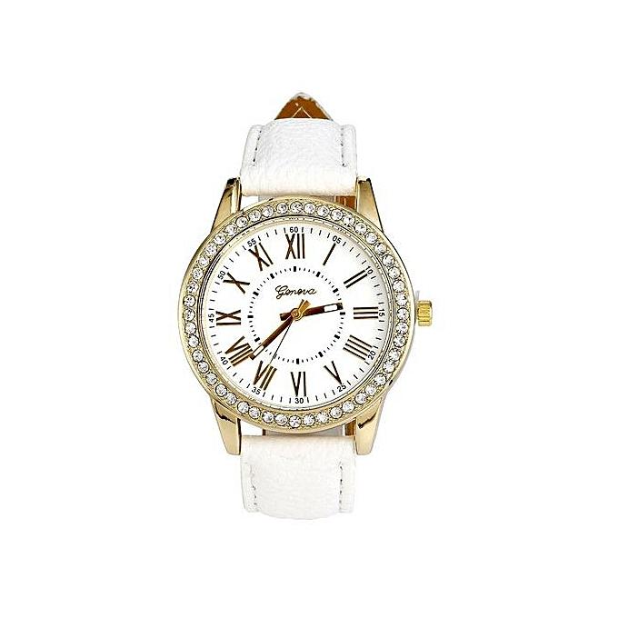 5dda007bb2 Xingbiaocao Geneva Women's Leather Band Roman Rhinestone Quartz Wrist Watch  Watches WH - White