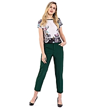 Green Fashionable Regular Waist Stretch Standard Trousers