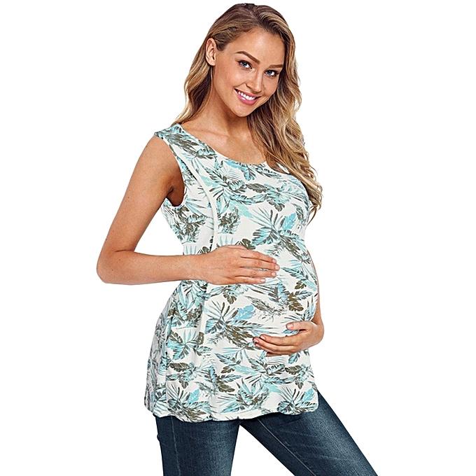 0ef93593036 ... Women's Nursing Sleeveless Leaves Print Tops Breastfeeding Tee T-Shirt  Blouse ...