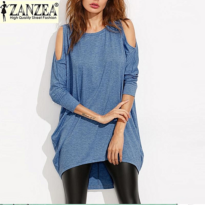 b87f5e2daaa ZANZEA Fall Blouse Women's Elegant New Solid Color Tunic Casual Asymmetry  Loose Long Sleeve Shirt Tops