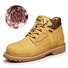 Winter Men Outdoor Hiking Mountain Shoes Leather Fleece Warm Up Men Trekking Shoes Waterproof Wearable - Yellow