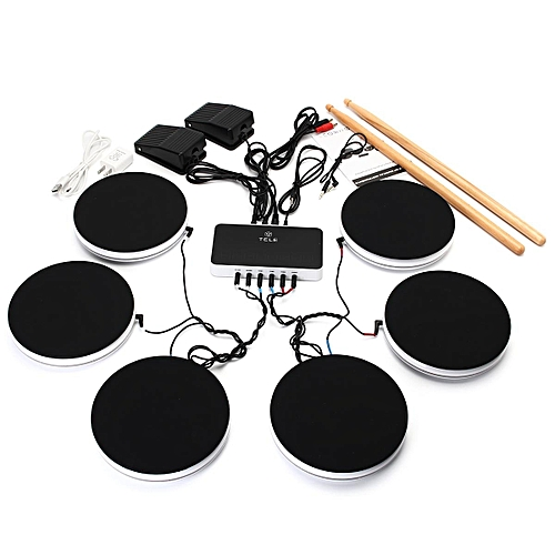 Buy Generic Portable Electronic Drum Kit 6 Pieces Set Pad Pedals