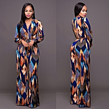 Women's Full-sleeve High Waist Multicolor Ankle-Lenght Bodycon Jumpsuit Romper Playsuit