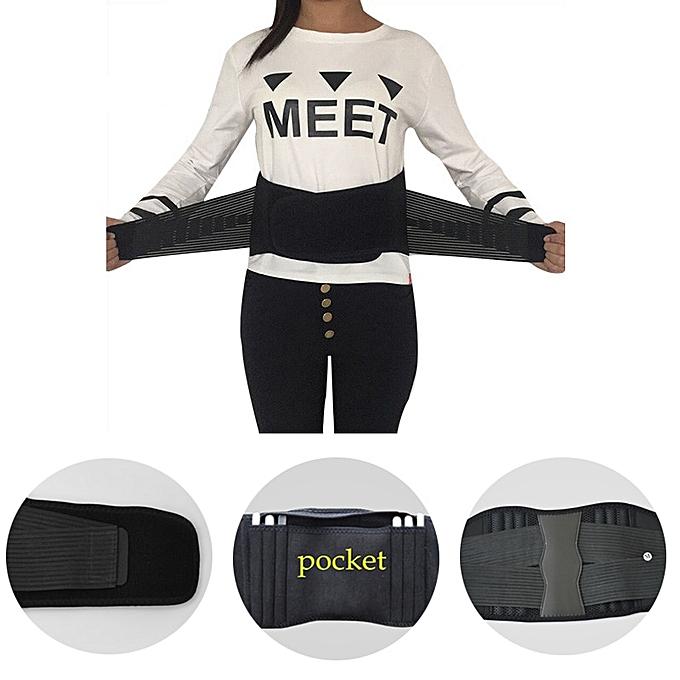 Women Men's Elastic Corset Back Lumbar Brace Support Belt Waist Orthopedic  Posture Corrector Low Back Belt Waist Support S-XXXL(Black)