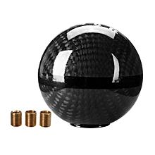 Real Carbon Fiber Ball Manual MT Gear Shift Shifter Knob W/Red Stripe Universal (Black)