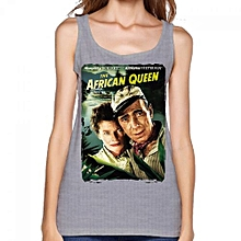 The African Queen Women's Print Vest Tank Tops Grey