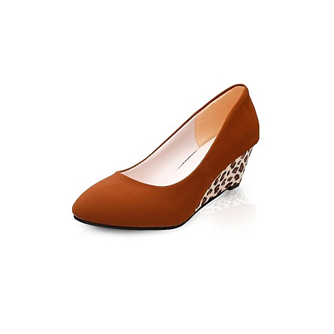 6814b29aca20 Women Wedges Pumps Korean Flock Shallow Casual Shoes Plus Size (Khaki)