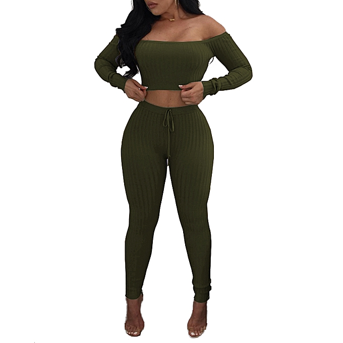 c7e375c03089 ... Sexy Women Two Piece Set Crop Top Leggings Solid Ribbed Off Shoulder  High Waist Slim Club ...