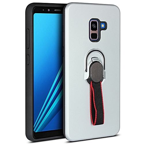 newest cba12 a46ae Galaxy A8+ (2018) Case,Ultra-Thin Soft TPU+Hard PC Cover Hybrid Drop-Proof  Protection with Finger Strap & Magnetic Ring Stand Case for Samsung Galaxy  ...