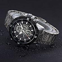 Fohting North Calendar Quartz Wrist Watch Stainless Steel Bracelet Men Watch - White