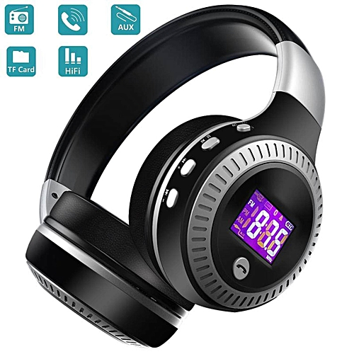 B19 LCD Display Bluetooth Headphone HiFi Bass Stereo Wireless Headset With Mic FM Radio TF Card Slot For Phone PC BDZ Mall