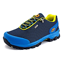 Summer New Style Men Outdoor Sprots Shoes Mesh Breathable Hiking Mountain Climing Shoes Anti-skid Men Trekking Shoes - Blue