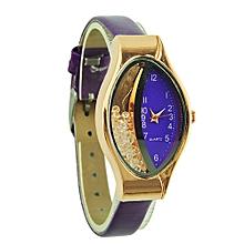 Semilunar Flow Sand Type Ellipse Woman Fine Strap Small Dial Wristwatch Watch