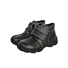 Black Closed Ankle Boots With Two Velcro Straps