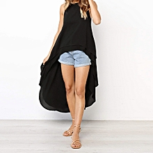 Featured Blouse stylish Women's Sleeveless Irregular Hem Solid Long Top T Shirt Blouse