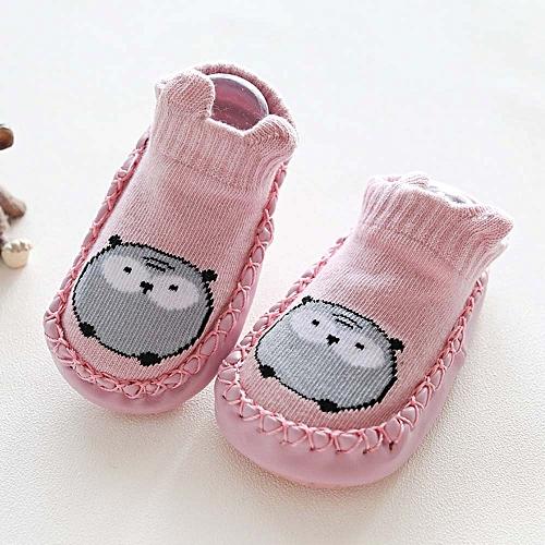 bcffd4b541abf3 Fashion Newborn Baby Cartoon Animal Baby Girls Boys Anti-Slip Socks Slipper Shoes  Boots-Pink