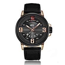 9086 Men Brand Luxury Sports Watches Military Leather Quartz watch Waterproof Male Clock - Black Gold