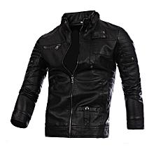 Xiuxingzi_Men Leather Jacket Autumn&Winter Biker Motorcycle Zipper Outwear  Warm Coat