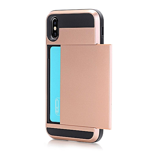 quality design 236ba a0feb Case For for iphone X ,Dual Layer Hybrid Armor Hard PC Skin + TPU Bumper  Sliding Cover Secret Card Slot Shock Absorbing Case Protective Shell For  for ...