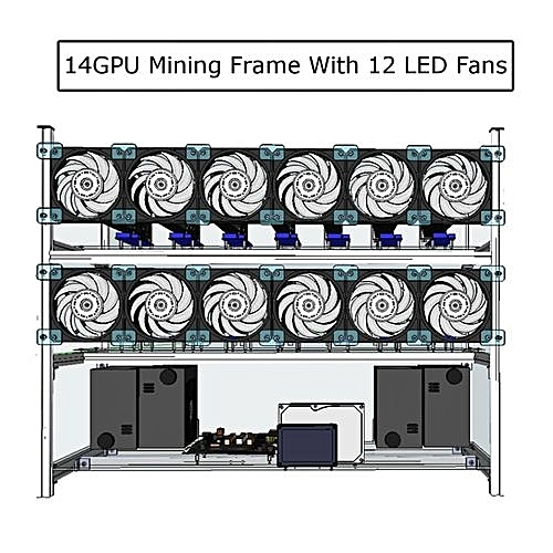 Air Mining Frame Rig Case Up To 14 GPU With 12 LED Fans For ETH Ethereum  ZCash