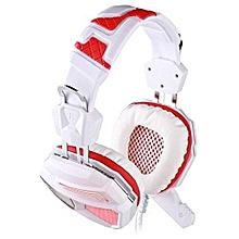 Headphone Gaming, G5200 Gaming Headphone 7.1 Surround USB Gamer Headset (White Red)