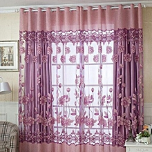 Elegant Floral Door Window Tulle Voile Bedroom Balcony Living Room Decoration 2.5 X 1m