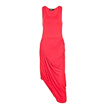 Red Short Sleeved Open Criss Cut Dress
