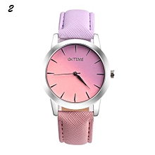 Candy Color Leather Quartz Wristwatch For Students #2 - Violet & Pink