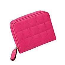 Women Plaid PU Leather Zipper Purse -Rose Red