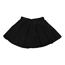 Fashion Unique Women's Stretch Waist Plain Skater Flared Pleated Mini Skirt-black