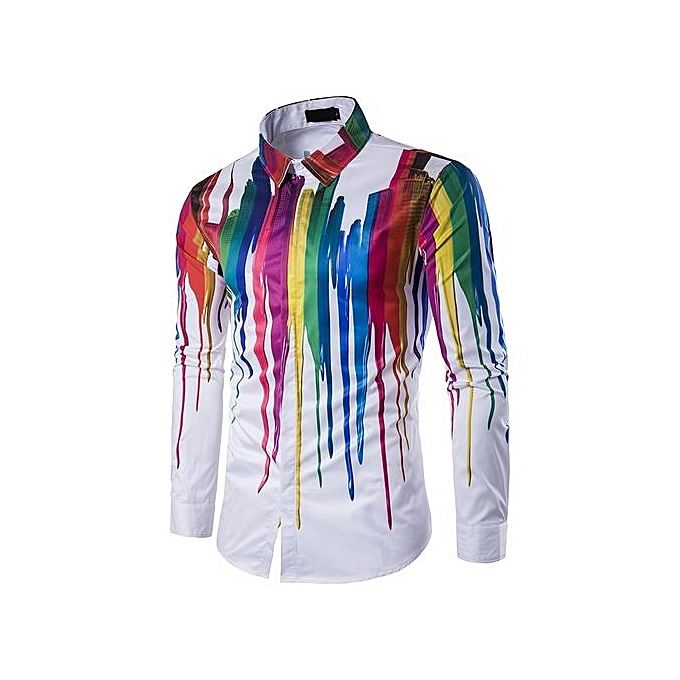 df32d384620b Men s Hot Sale  Herren 3D Splash Paint Colorful Shirts Men Long-sleeved  Casual Dress