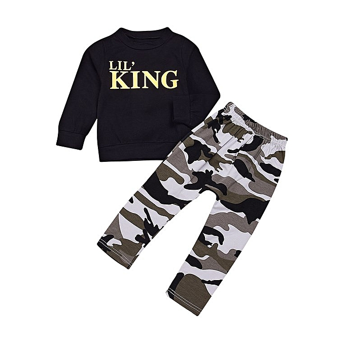 fe78fc4cf 2pcs Boys Letter & Camouflage Pattern Long Sleeves T-Shirt & Long Pants  Outfit Black