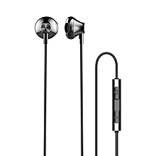 ROCK Aluminum Alloy Stereo Earphone 3.5mm Port Half In ear Wired Control Headphone With Mic