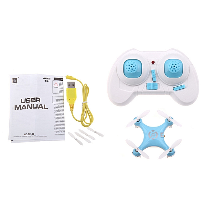 Cheerson CX-10 Mini Drone 2 4G 6-Axis Gyro RC Quadcopter Toys for Kids  (Blue)