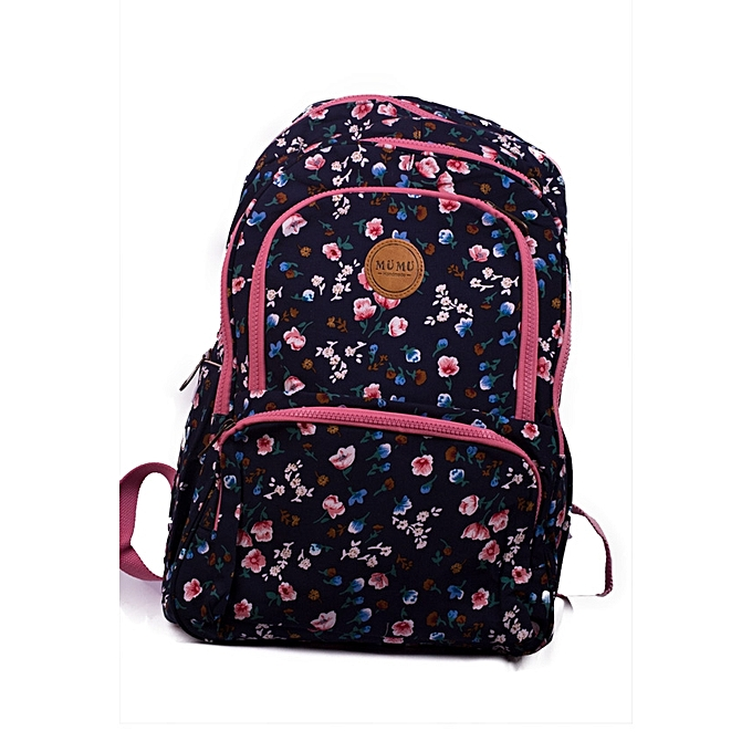 53e8b9dd362e Generic Stylish Ladies Dark Blue and Mixed Floral Canvas Backpack ...