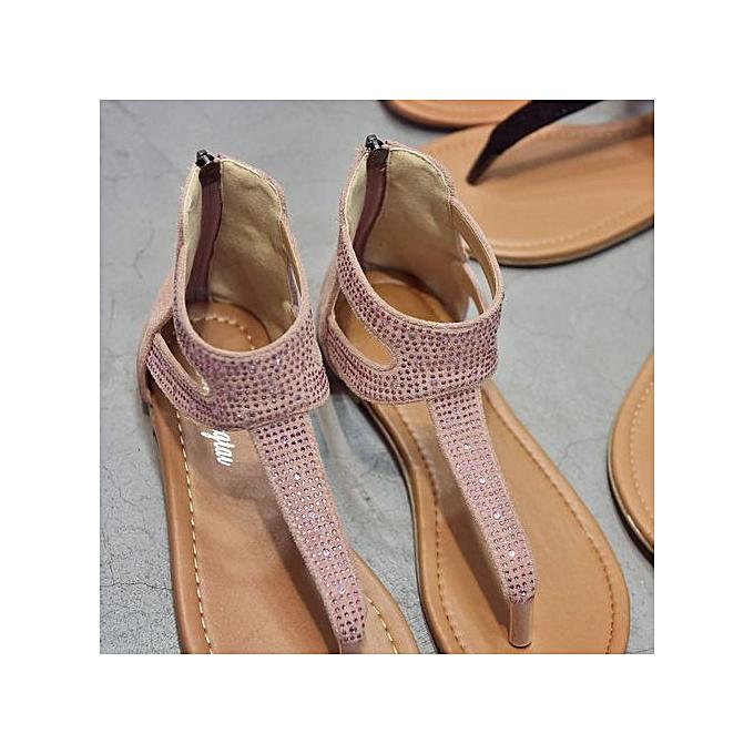 0743a7274 ... LightningWomen Diamond Zipper Gladiator Low Flat Flip Flops Beach  Sandals Bohemia Shoes - Pink