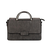 Women Faux Leather Convertible Tote Bag - Deep Gray