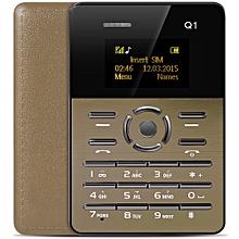 Q1 1.0 inch Ultra-thin Card Phone FM Audio Player Sound Recorder Calendar Calculator-GOLDEN