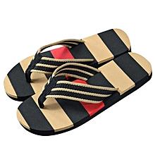 2835f3120130 Men Summer Stripe Flip Flops Shoes Sandals Male Slipper Flip-flops BK 40