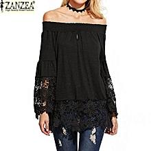ZANZEA Women Slash Neck Strapless Lace Croceht Bell Sleeve Blouse Splice Off Shoulder Shirt Tops Blusas (Black)