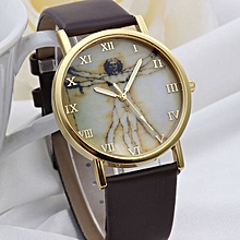 bluerdream-Fashion Retro Style Dial Leather Band Quartz Analog Wrist Watches Brown