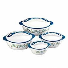 Set of 4 pavonia Thermo Dish Hot or Cold Casserole Serving Bowls with Lids Green
