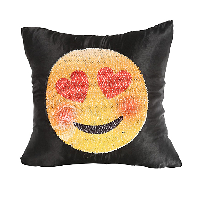 40*40cm Reversible Funny Smiley Emoji Pillowcase Changing Face Boster Case  Magical Pillowslip Double Color DIY Decorative Pillows Car Sequins Cushion