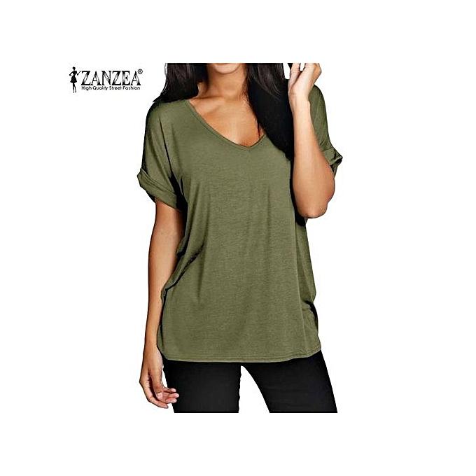 1cf354f65e4bc ZANZEA Fashion Summer T Shirt Women Short Sleeve Loose Casual Tops Tees  Plus Size V Neck