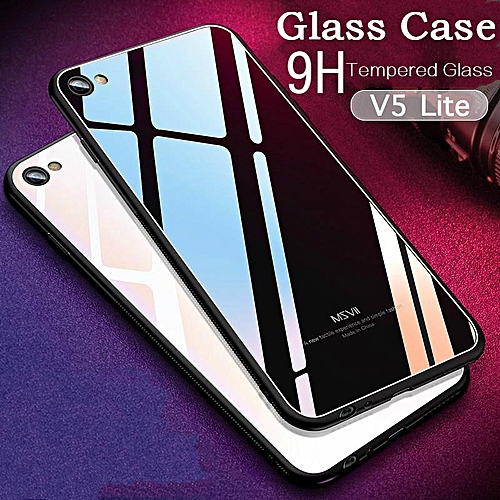 new arrival 3f98d f3fc7 Glass Case For VIVO V5 Lite Case HD Clear Full Protection Tempered Glass  Back Cover For VIVO V5 Lite Housing 990107 Color-0