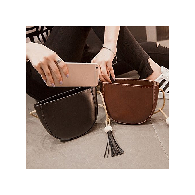 Xingbiaocao Fashion Women Leather Handbag Tassel Inclined Shoulder Bag  Messenger Bag -Brown 674456dad5aa2