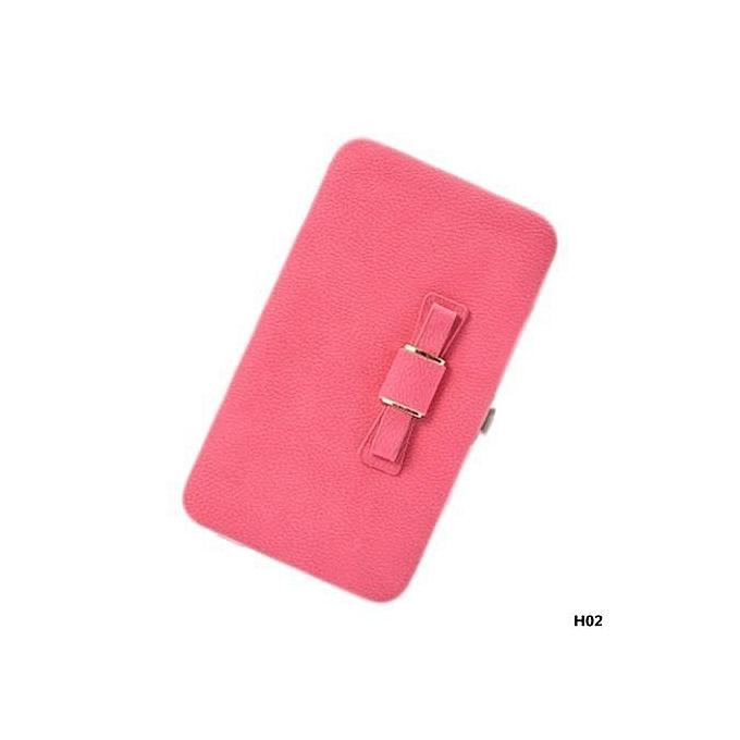 dbd998597041 Large Capacity Women Bowknot Wallets Bow Tie Pocket Long Section Zipper  Purse Phone Card Holder Clutch Wristlet
