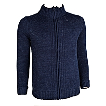 Navy Blue Padded Wool-Blend Jacket